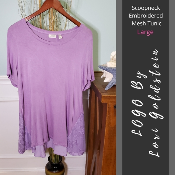 LOGO | Scoopneck Embroidered Mesh Tunic